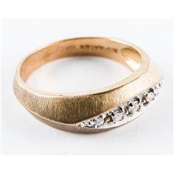 Estate 10kt Gold - 5 Diamond Band Ring. Size 10. 5