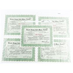Group (5) Gold Mines Stock Certs. Dated 1930s