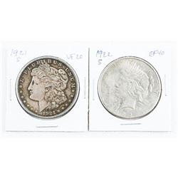 Lot (2) USA Silver Morgan Dollars: 1921(S) and 192
