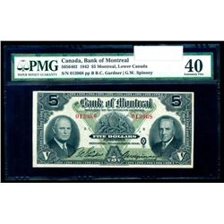 1942 The Bank of Montreal $5, PMG EF-40.