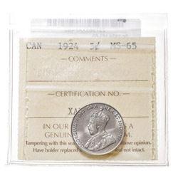Rare - Canada 1924 5c - ICCS MS65.