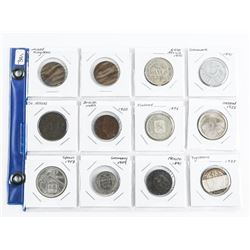 Group of (12) World Coins 2x2's