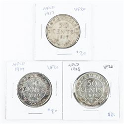Group of (3) 925 Silver NFLD 50 Cents: 1917-1918-1