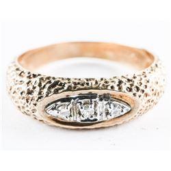 Estate 10kt Gold 3 Diamond Band Ring. Size 10.5