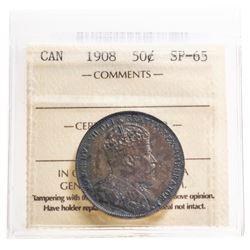 SCARCE - CANADA 50 CENT 1908 ICCS SP-65.