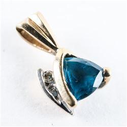 10kt Gold Diamond and Blue Topaz fancy Cut