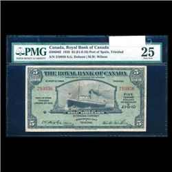 Scarce - 1938 Royal Bank of Canada $5. PMG VF-25.