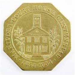 1954 Mariposa Courthouse Gilt Octagonal Medal. Sca