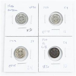 Group of (4) 925 Silver Canada 5 cent coins: 1906,