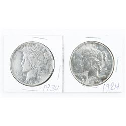Lot (2) USA Silver Peace Dollar: 1924 and 1934