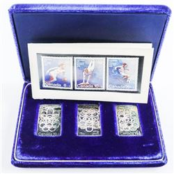 Olympics 1976 - 3 Stamp Set .9999 Fine Pure Silver