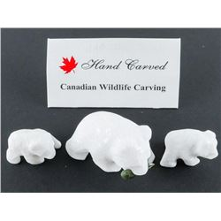 Star Marble Stone Carving - 3pc Set, Grizzly with