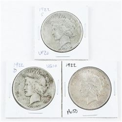 Lot (3) USA Silver Peace Dollars: 1922, 1922(D), 1