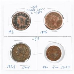 Group (4) Early USA Large Cents and Two Cents: 183