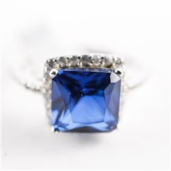 925 Silver Ring Size 7 - Sapphire Blue , Cushion C