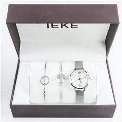 Ladies Watch and Jewellery Gift Set Silver