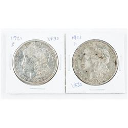 Lot (2) 1921 (S&D) Silver Morgan Dollars