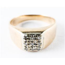 Estate 14kt Gold 9-Diamond Ring. Size 7 1/2. 4.12