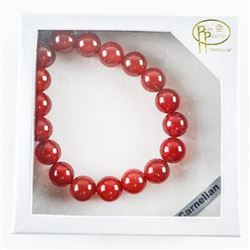 Genuine Carnelian Bead Bracelet 10mm