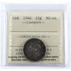 1946 Canada Silver 25 Cent. MS-64. ICCS. (MXR)