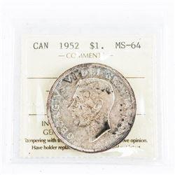 1952 CAD Silver Dollar NWL. MS64. (SER)