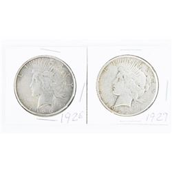 Lot (2) USA Silver Peace Dollars: 1926 and 1927