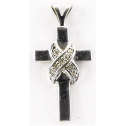 Estate 14kt White Gold Diamond Set Cross Pendant