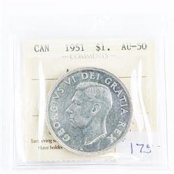 1951 $1.00 CANADA AU-50 Coin