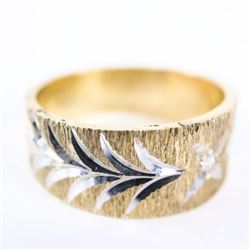 Estate 10kt Gold Ring Diamond Cut Brush Design Siz