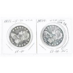 Lot (2) 1834 and 1835 US 50 Cents (EF-40) (IER)