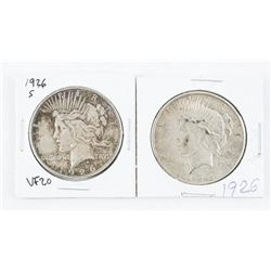 Lot (2) USA Silver Peace Dollars: 1926 and 1926 (S