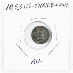 1853 US Three Cent Coin (AU) (OIE)