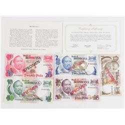 Set (5) BOTSWANA Specimen Notes 1, 2,5,10, 20 - Ma