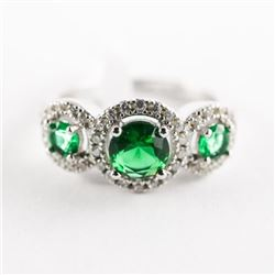 925 Silver Ring, Size 6 3 Emerald Green and Swarov