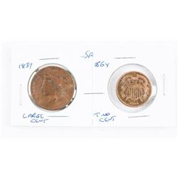 Lot - 1851 USA Large Cent and 1852 USA Silver 3 Ce