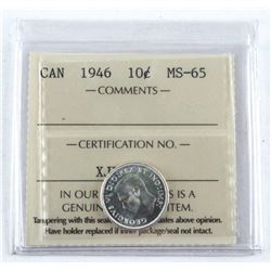 1946 Canada Silver 10 Cent. MS-65. ICCS. (MME)