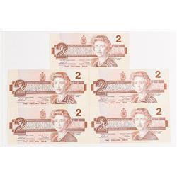 Lot (5) Bank of Canada 1986 2.00 BBX Prefix - Larg