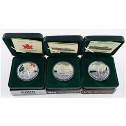 Lot (3) Proof Canada Silver Dollars: 1998, 1999, 2