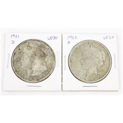 Lot (2) 1921d and 1922d US Silver Dollars