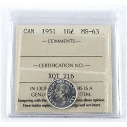 1951 Canada Silver 10 Cent MS-63. ICCS.