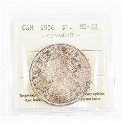 1956 Canada Silver Dollar MS-63. ICCS.