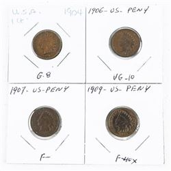 Group (4) Indian Head USA One Cent: 1904, 1906, 19