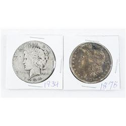 Lot (2) USA Silver Dollars: 1878 Morgan and 1934 P