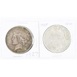 Lot (2) USA Silver Peace Dollars: 1925 VF30 and 19