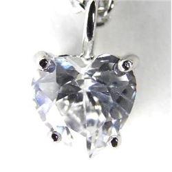 Silver Necklace Heart Cut Swarovski Elements Solit