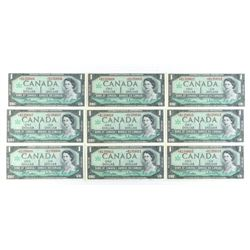 Group of (9) UNC 1967 Bank of Canada 1.00 * B Repl