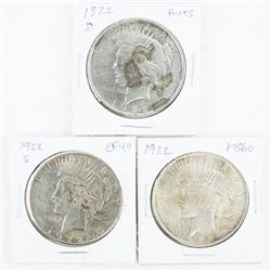 Group of (3) USA Silver Peace Dollars: 3 Types 192