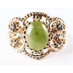 Estate 10kt Gold Ring. Size 7 3/4. Oval Cabochon J