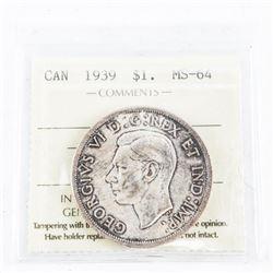 1939 CAD Silver Dollar MS64. (sxr)