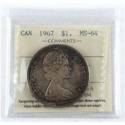 1967 Canada Silver Dollar MS-64. ICCS.